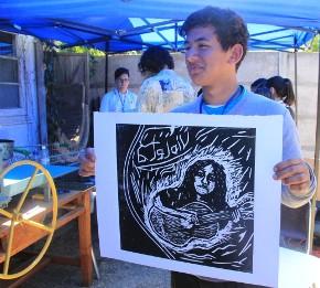 Jóvenes de Santa Cruz participaron en clínicas de Xilografía, Rap y Fanzine