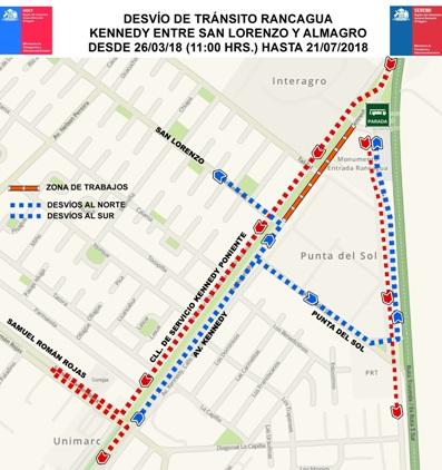 Este lunes comienzan desvíos por trabajos de remodelación de Avenida Kennedy