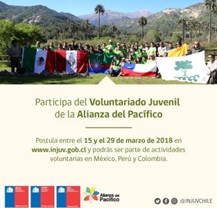 INJUV te invita a ser parte de actividades de voluntariado en Colombia, México y Perú a través de la Alianza del Pacifico
