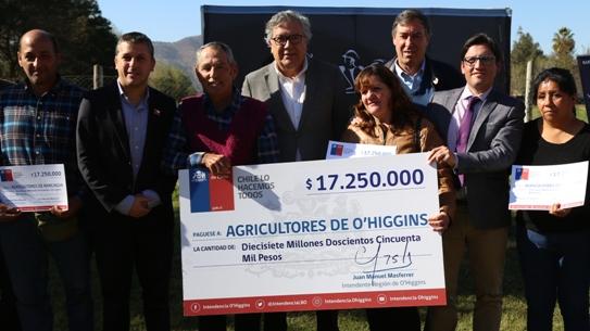 Intendente Masferrer entrega bono de apoyo a 178 pequeños agricultores de Rancagua