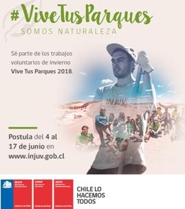 INJUV y CONAF te invitan a participar en los trabajos voluntarios de invierno Vive Tus Parques 2018