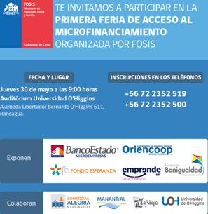 FOSIS invita a emprendedores a Primera Feria de Acceso al Microfinanciamiento