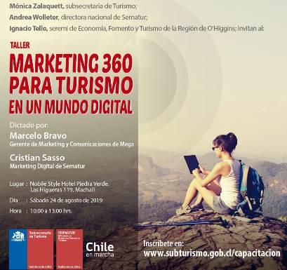 Subsecretaría de Turismo y SERNATUR realizarán taller de marketing digital gratuito a empresarios turísticos de O'Higgins