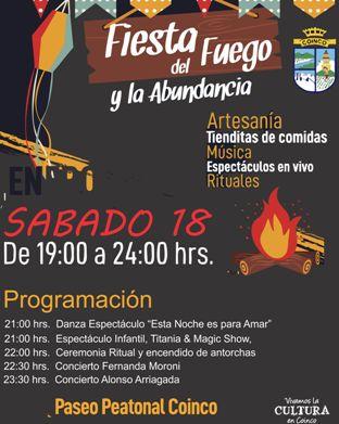 Este sábado sigue viviéndose la Fiesta del Fuego y la Abundancia en Coinco
