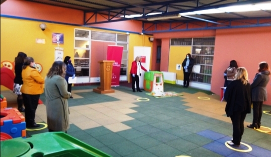 Entregan Rincón de Juego RINJU para niños y niñas del Colegio Aurora de Chile de Rancagua
