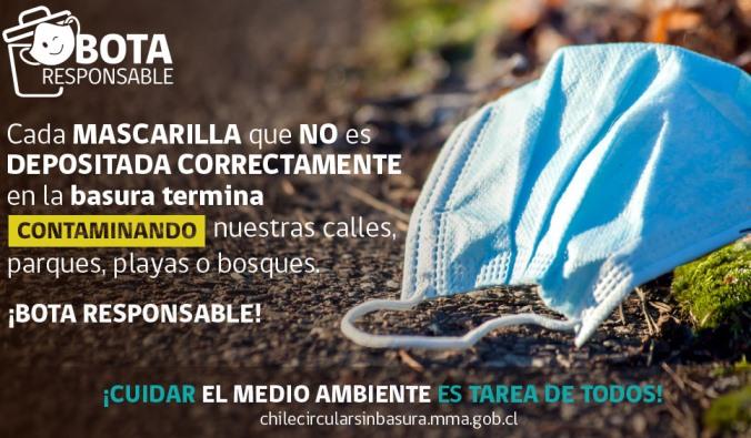 SEREMI del Medio Ambiente llama a botar de manera responsable las mascarillas o guantes desechables